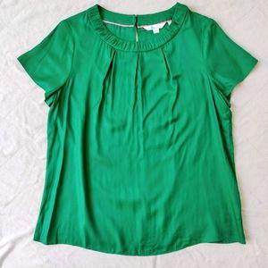 Boden Emerald Green Silk Blend Pleated Blouse